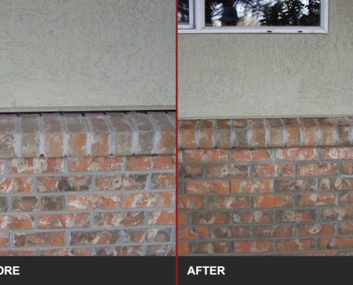 before and after image of concrete wall lifting