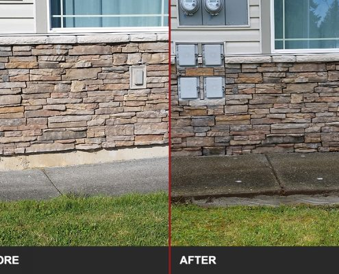 before and after image of concrete sidewalk lifting